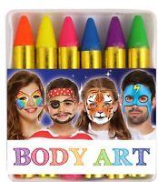 Neon Face paint & Body Art Crayon Kit Sticks Party Wedding/Kids 6 colour set