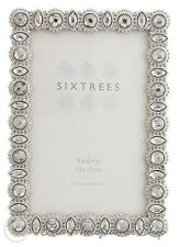 Sixtrees Maria Vintage Shabby Chic Silver Photo Frame With Beads & Crystals 6x4