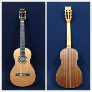 Caraya Parlor-610 Parlor Acoustic Guitar,Built-in EQ/Tuner,Natural Matt+Free Bag