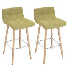 Set 2 pz. sgabello da bar-cucina con seduta e schienale tessuto verde