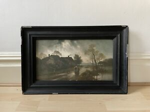 Painting (?) reproduction canvas signed (?) stamped framed landscape
