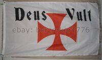Deus Vult 3'x5' White Flag Crusades Templar Teutonic Knights USA Seller shipper