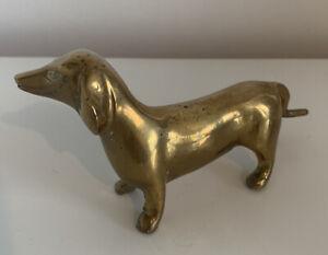 """VINTAGE BRASS SAUSAGE DOG 6"""" FIGURE MODEL DASCHUND 1970s 1980s 1960s"""