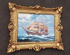 Segelschiff Meer 56x47 Gemälde Schiffbild Bilderrahmen Wandbild Maritim Antik