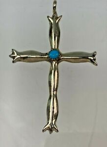 Native American Sterling Silver & Turquoise Cross Pendant