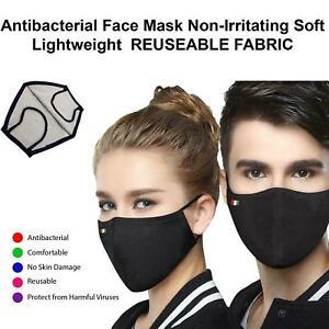 Black Plain Adjustable Strap Face Mask Protective Washable Reusable Breathable
