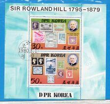 Corea Sello Sobre Sello Personajes Rowland Hill Hojita año 1980 (DV-54)
