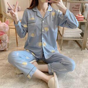 Ladies Women Pyjamas Set Long Sleeve Night wear Lounge Wear Pajamas Pjs Sleep Dc