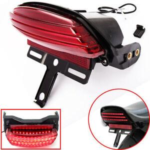 Tri-Bar Fender LED Tail Brake Light Bracket For Harley Softail FXST FXSTC FXSTB