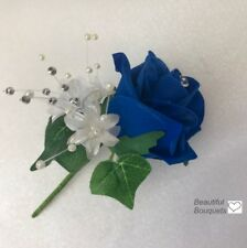 Wedding Flowers flower girl  Bridesmaid Star Wand in Royal Blue and Ivory