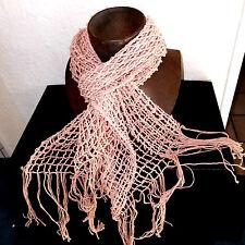 witziges Häkel TUCH Schal Damentuch rosa Strick Halstuch Fransen 1,80m * 0,40m