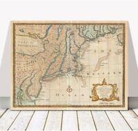 """Vintage Bowen Map of New Jersey, New York, Pennsylvania CANVAS PRINT 32x24"""""""