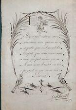 DESSIN XIX ème  - CONCOURS DE CALIGRAPHIE SAINT ETIENNE 1812 - ANTOINE CANSON -