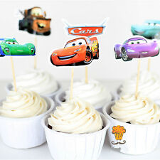 48pcs Cars Lightning McQueen Baby Birthday Cupcake Wrappers Toppers Party Disney