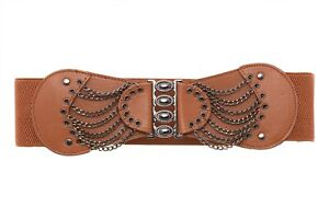Elastic Wide Waist Belt Press Studs Chains Casual Unique Waistband One Size FP33