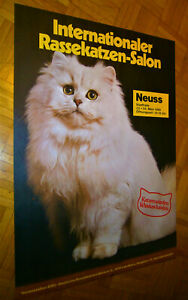1985 XL (84cm) Poster RASSEKATZEN SALON Neuss (Düsseldorf) Whiskas Katzen