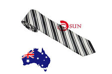 Men White Black Stripes Micro Fiber Microfiber Necktie Neck Tie Work Wedding