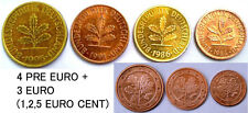 GERMANY 7 DIFF.COINS(4 old+3 EURO COINS) RARE COLLECTION