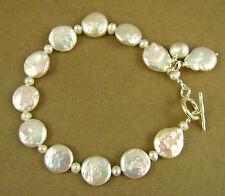 Pearl and silver dangle bracelet. Fine & sterling silver. Designer handmade.