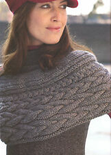 "Chunky Wool Braided Cable Shoulder Shrug 28"" - 62"" Knitting Pattern"