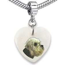 Dandie Dinmont Terrier Heart Mother Of Pearl European Bracelet Charm Bead EBS70