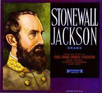 Placentia Civil War Stonewall Jackson Orange Citrus Fruit Crate Label Art Print
