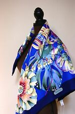 New AUTHENTIC Salvatore Ferragamo Blue Flora Multicolor Silk Square Scarf