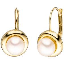 Boutons rund 333 Gold Gelbgold 2 Süßwasser Perlen Ohrringe Ohrhänger