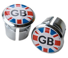 Great Britain GB Union Jack Bicycle Handlebar Chrome Plastic Bar End Plugs, Caps
