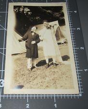 Man Wedding Dress Plays FIDDLE Violin MEN Singing Tent Vintage Snapshot PHOTO