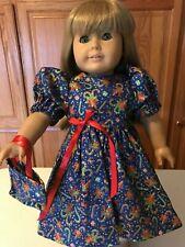 "18/"" Doll Clothes Dress /& Tote Bag Christmas Royal Blue with Christmas Prints"