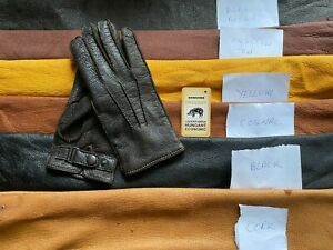 Men's Peccary Winter Leather Gloves cashmere lining wrist fastener