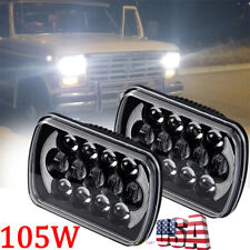 "Pair 105W 7X6"" 5x7"" LED Headlights For Chevrolet Jeep Cherokee XJ Wrangler YJ"
