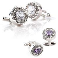 1 Pair Fashion Diamond Cufflinks Cuff Links Womens Mens Dress Business Wedd C2P3