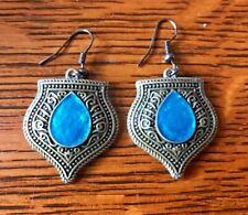 Earrings Bronzed Metal Blue Enamel Dangle French Wire