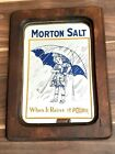 VINTAGE MORTON SALT MIRROR WOODEN FRAME 15  X 11