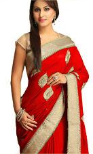 New Akshara Bollywood Designer Georgette Embroidered Red Sarees/Sari