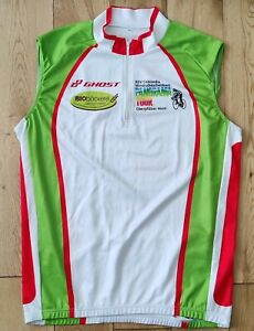 Panorama Tour  Non Sleeve Cycling Jersey Size M.White Red Green.
