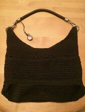 THE SAK Black Crocheted Knit & Nylon Shoulder Bag Handbag Purse