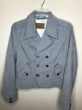 Levis Corduroy Gray Cropped Double Breasted Jacket Sz L