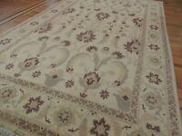 6x11  7x11 Peshawar Pakistani Oriental Area Rug Brown Green Gold Beige Wool 8x10