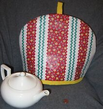 """""""Rick-Rack/Calico Pattern"""" Tea Cozy - Red/Teal/Cream - Hand Made - New"""