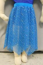 TEAL MESH with SLV SEQUINS HANDKERCHIEF DANCE COSTUME SKIRT-Size CHILD SIZE XXS