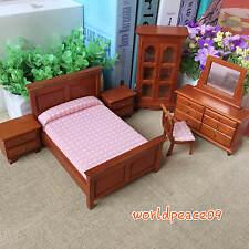 6Pcs Dollhouse Miniature Classical Bedroom Set Furniture 1:12 Scale Model