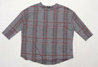 Primark Womens Size M Houndstooth Black Tartan Style Long Sleeve T-Shirt (Regula