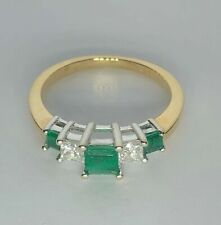 14K Yellow Gold Ring with Diamond and Emerald Stones- Size 5.5