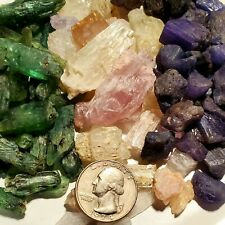900+carat Mix Lot Natural Tanzanite, Kunzite & Green Kyanite Gem Rough Crystals