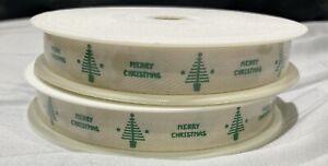Thin Green Merry Christmas Ribbon. Grosgrain Xmas Tree Bow Hamper SOLD PER METER