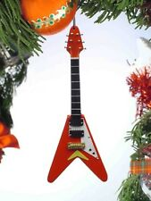 """Miniature 5"""" Red Electric Flying V-Guitar Hanging Tree Ornament"""