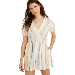 NWT Madewell Linen Button-Wrap Romper in Stripe Retail $118 size 0